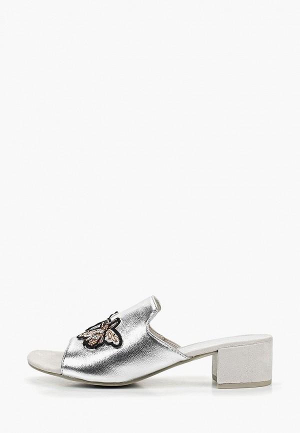 женское сабо marco tozzi, серебряное