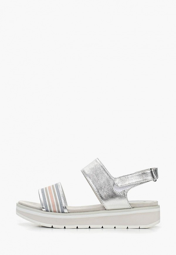 женские сандалии marco tozzi, серебряные