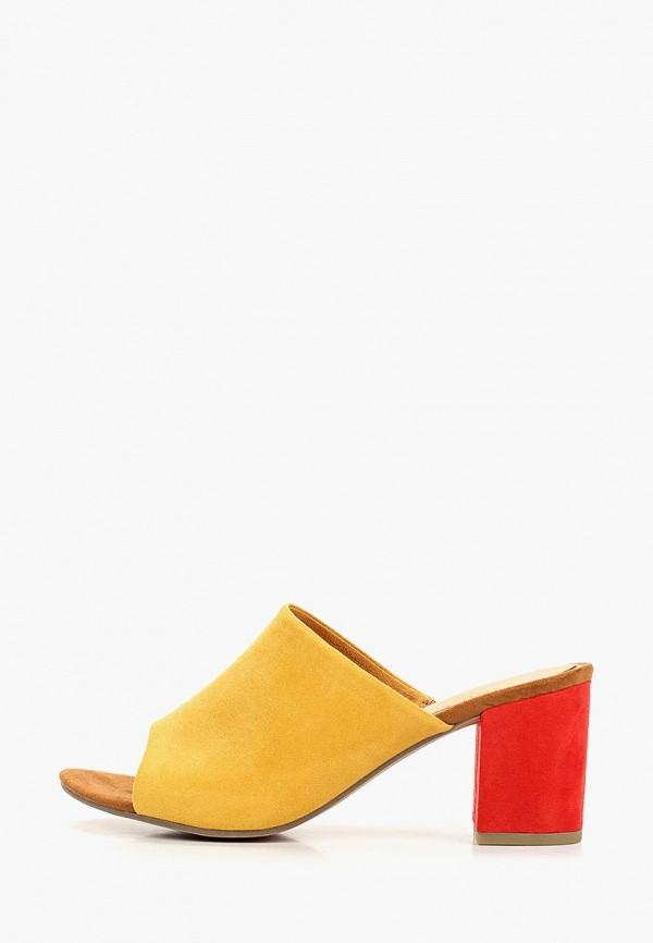 женское сабо marco tozzi, желтое