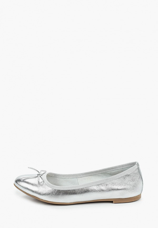 женские балетки marco tozzi, серебряные