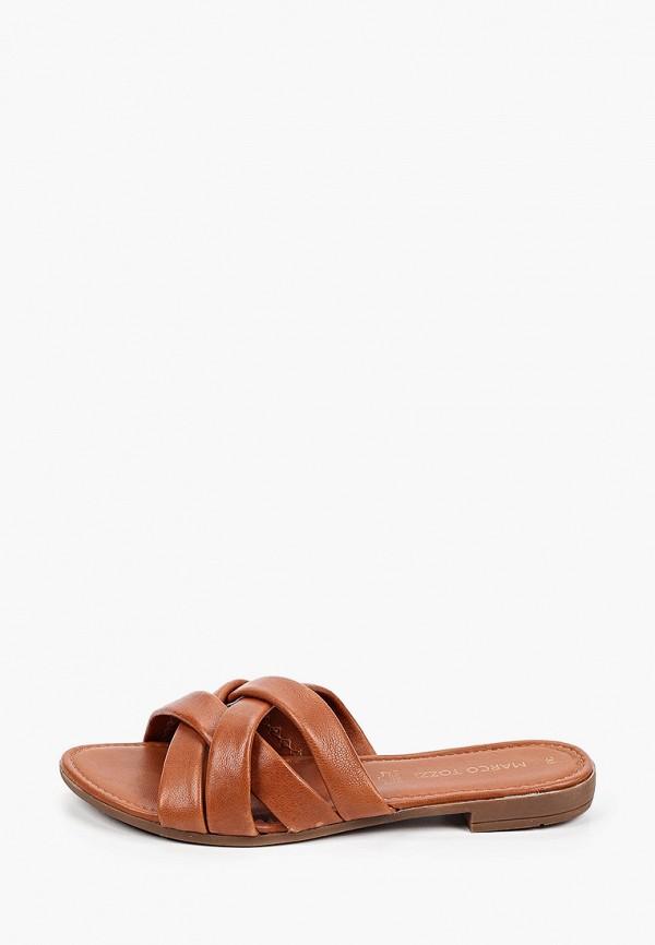 женское сабо marco tozzi, коричневое