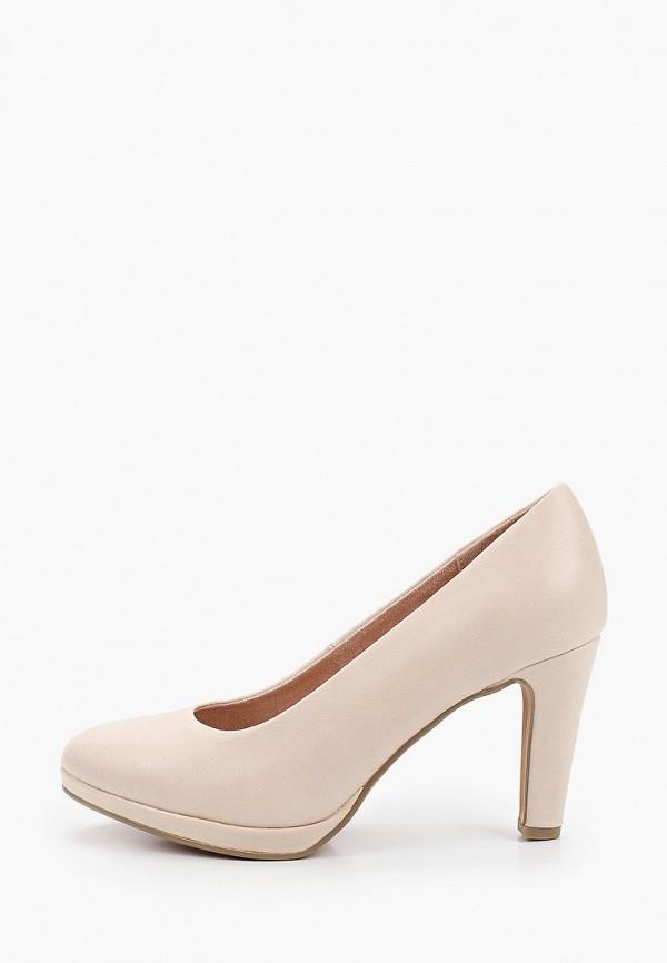 женские туфли с закрытым носом marco tozzi, бежевые