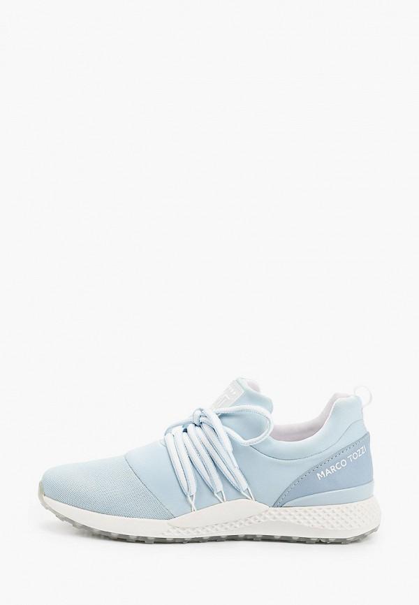 женские низкие кроссовки marco tozzi, голубые