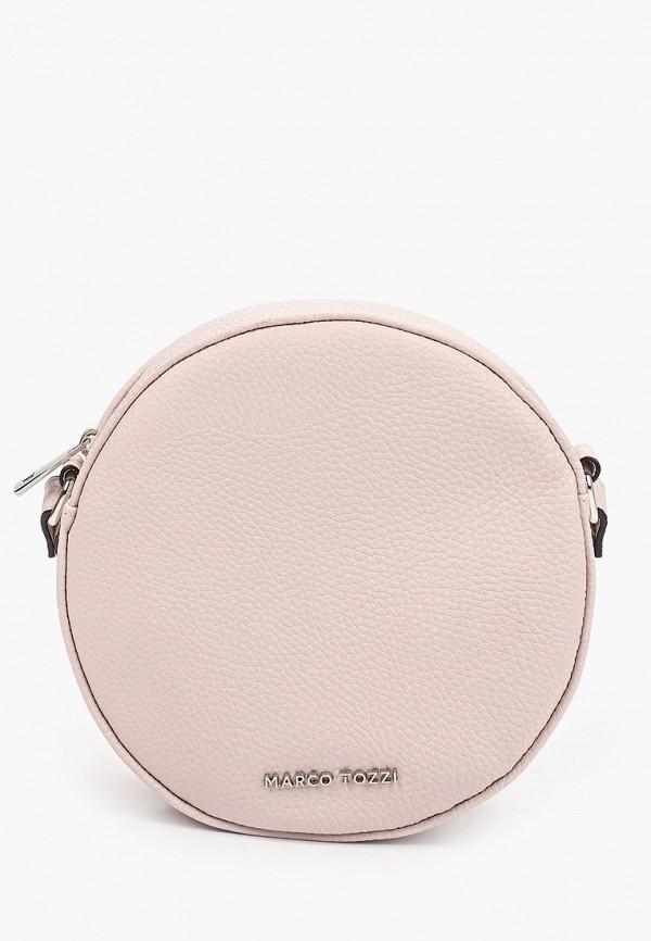 женская сумка через плечо marco tozzi, розовая