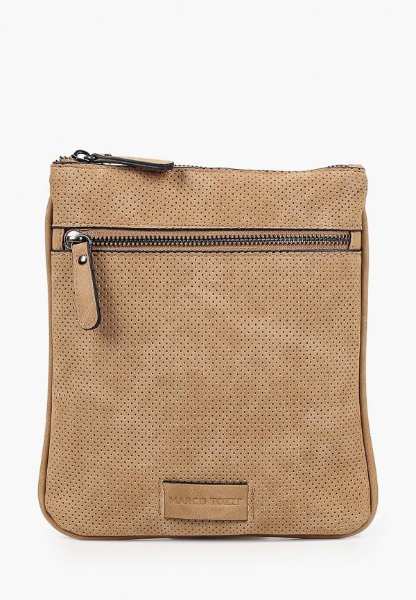 женская сумка через плечо marco tozzi, коричневая