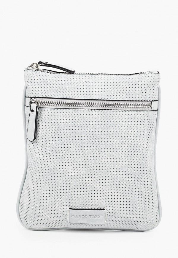 женская сумка через плечо marco tozzi, голубая