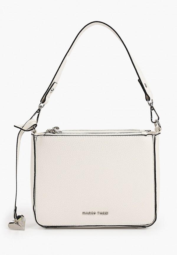 женская сумка с ручками marco tozzi, белая