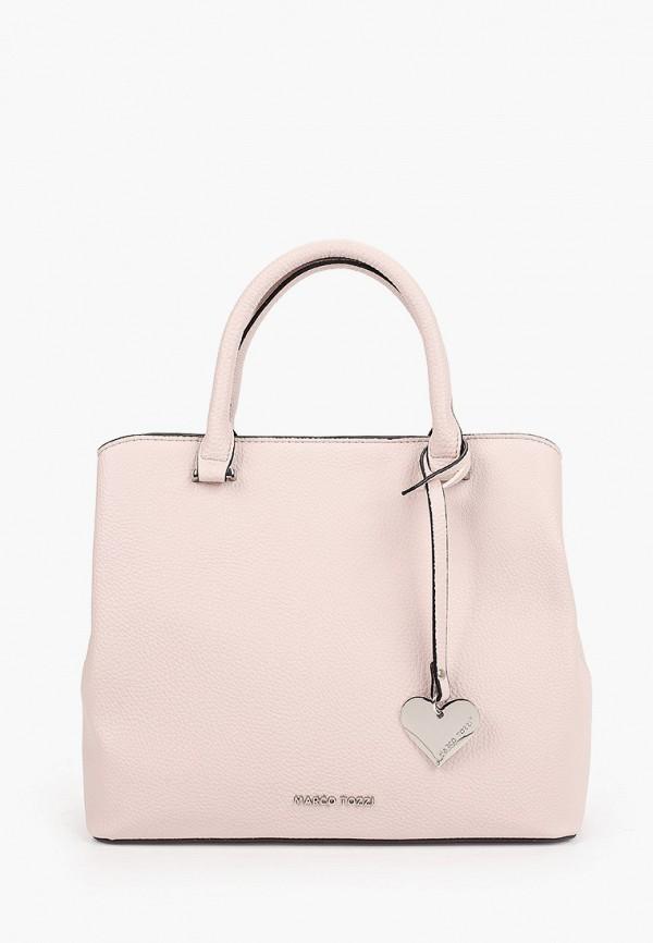 женская сумка с ручками marco tozzi, розовая
