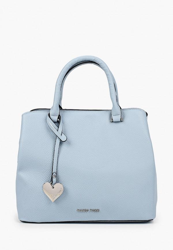 женская сумка с ручками marco tozzi, голубая