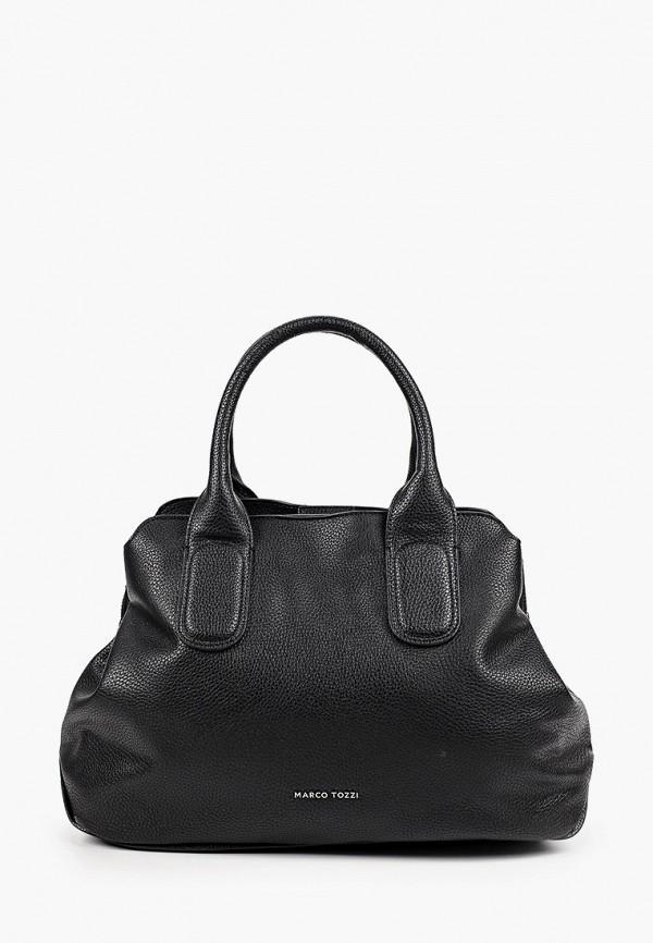 женская сумка с ручками marco tozzi, черная