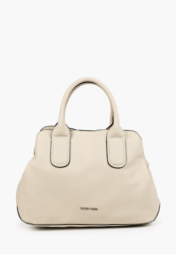женская сумка с ручками marco tozzi, бежевая