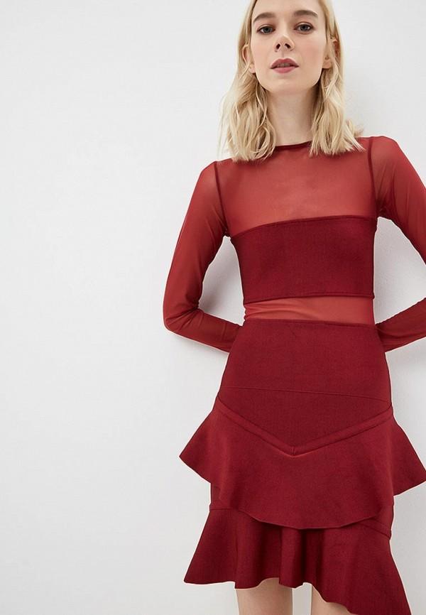 женское вечерние платье guess by marciano, бордовое