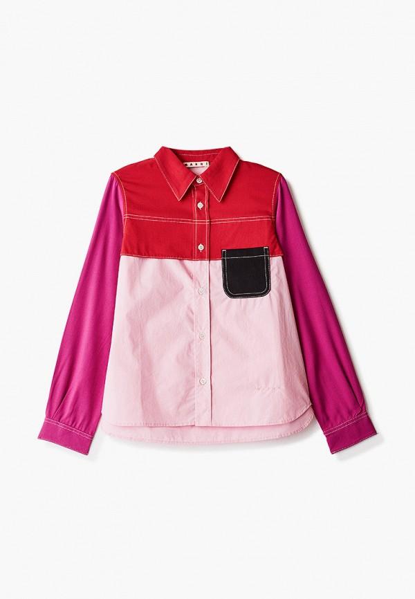рубашка marni для девочки, разноцветная