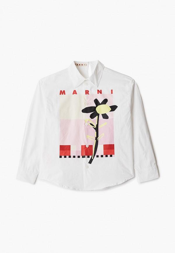 рубашка marni для девочки, белая