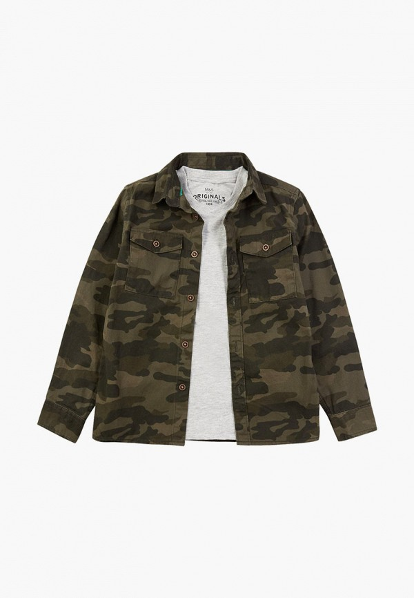 рубашка marks & spencer для мальчика, хаки