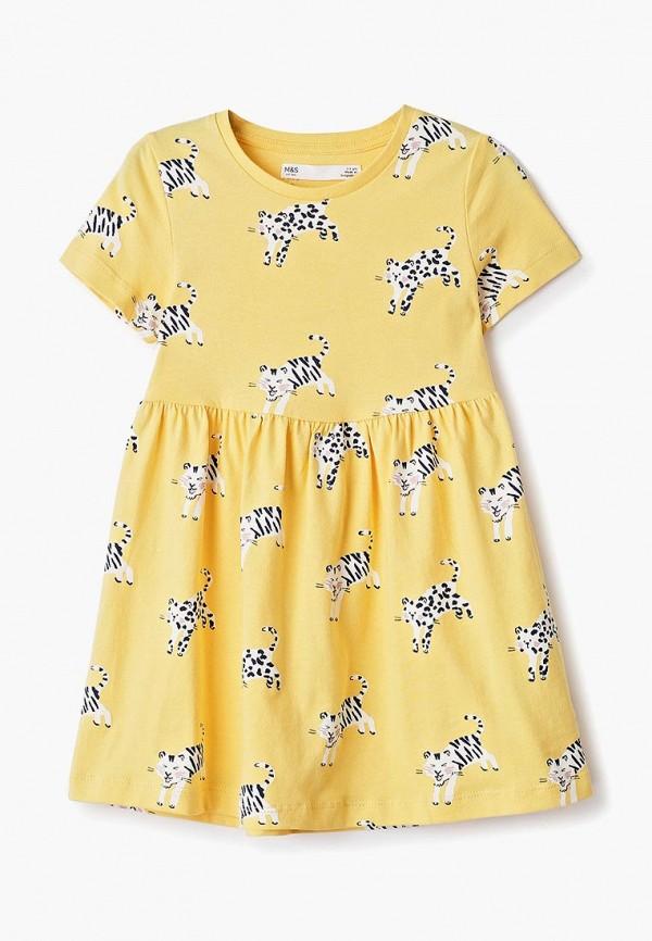 повседневные платье marks & spencer для девочки, желтое