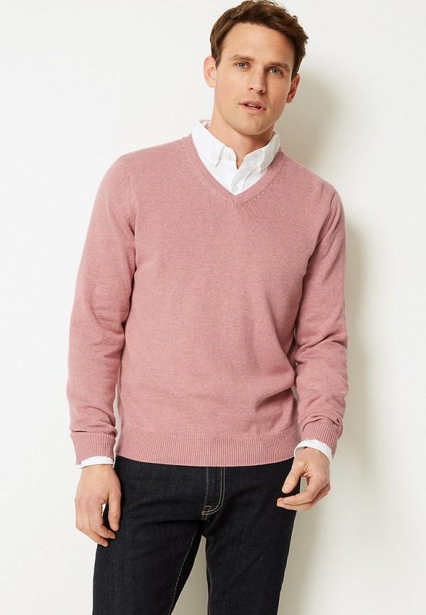 мужской пуловер marks & spencer, розовый