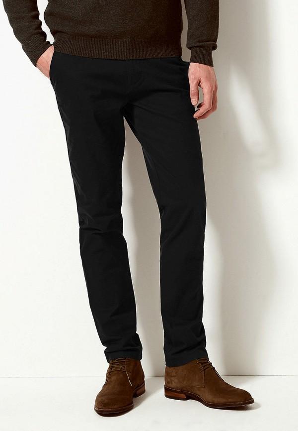 мужские зауженные брюки marks & spencer, черные