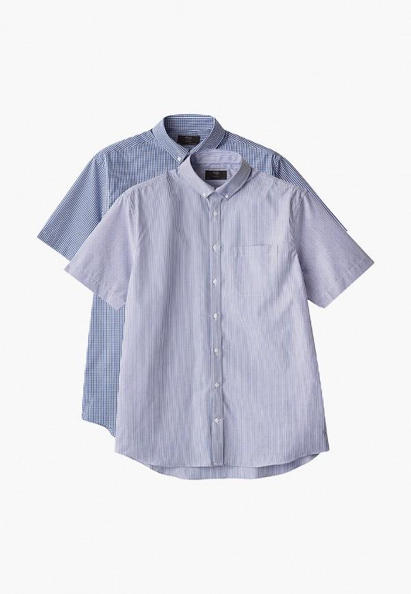 мужская рубашка с коротким рукавом marks & spencer, голубая