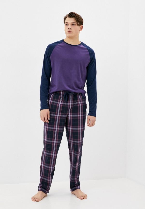 мужская пижама marks & spencer, фиолетовая