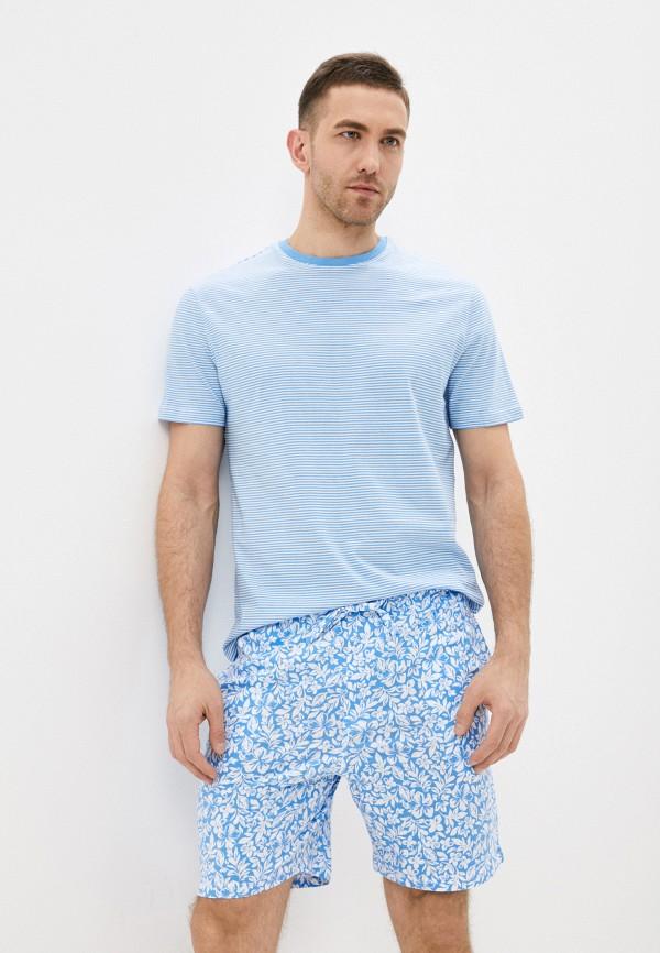 мужская пижама marks & spencer, голубая