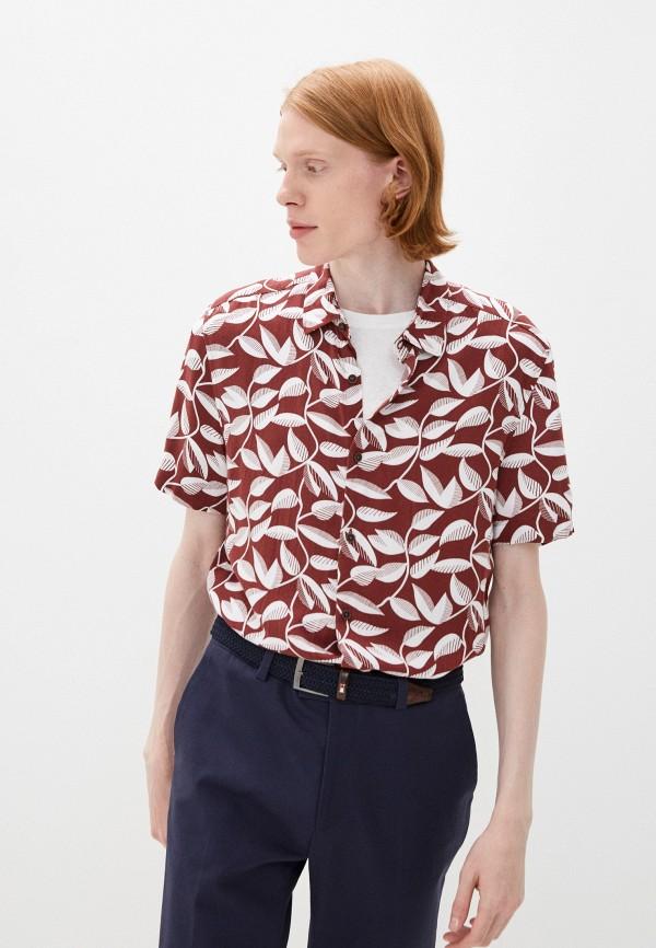 мужская рубашка с коротким рукавом marks & spencer, коричневая