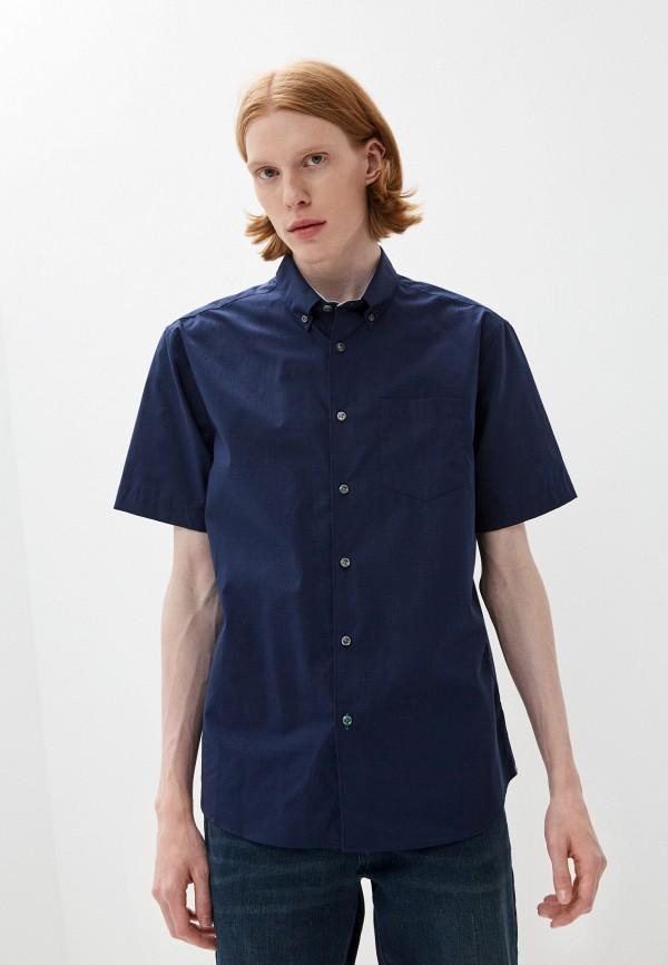 мужская рубашка с коротким рукавом marks & spencer, синяя