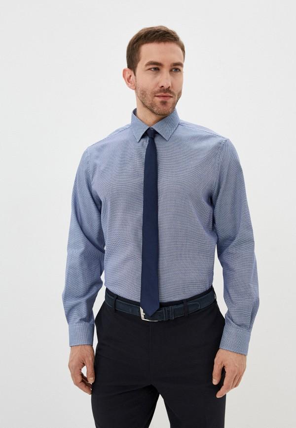 мужская рубашка с длинным рукавом marks & spencer, синяя