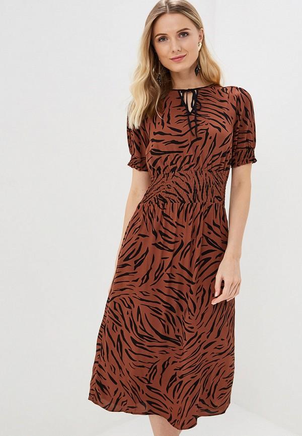 женское повседневные платье marks & spencer, коричневое