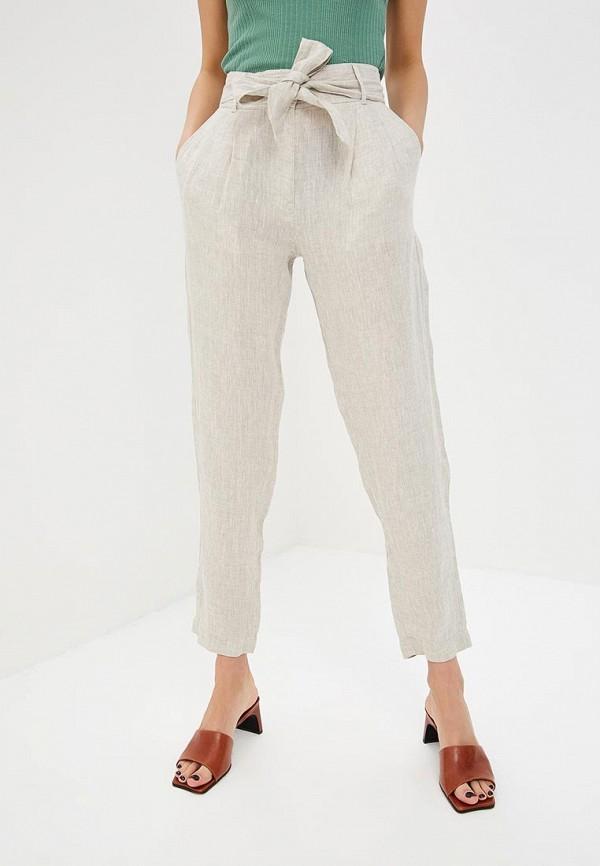 женские повседневные брюки marks & spencer, бежевые