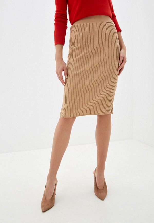 женская зауженные юбка marks & spencer, бежевая