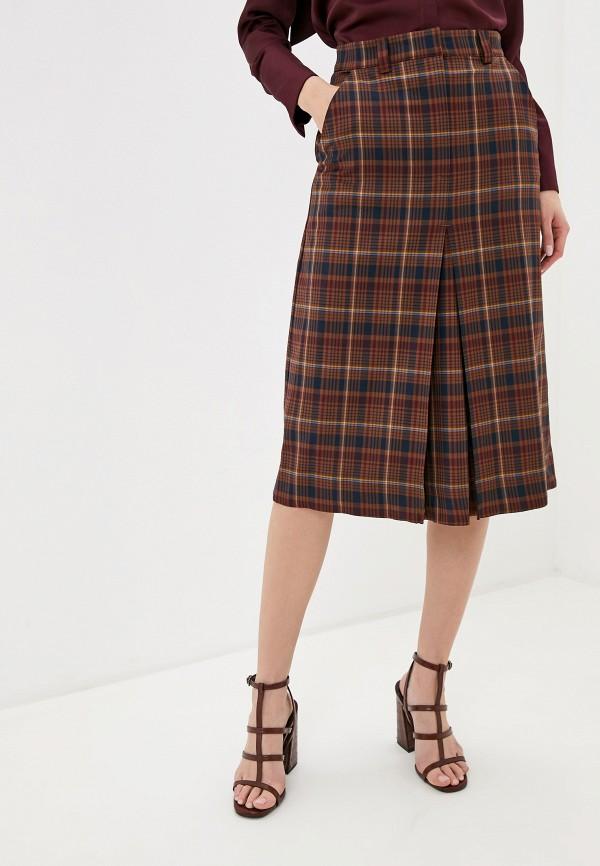 женская юбка marks & spencer, коричневая