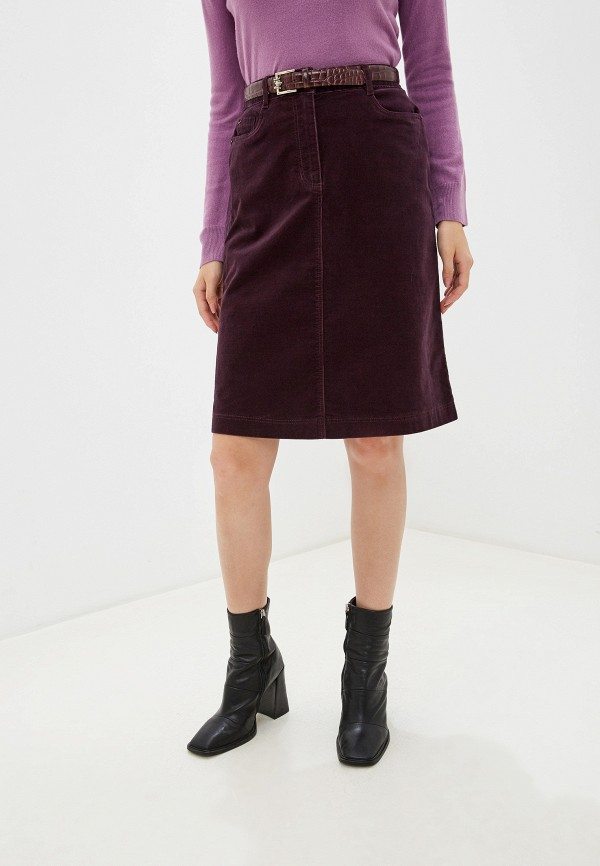 женская прямые юбка marks & spencer, фиолетовая