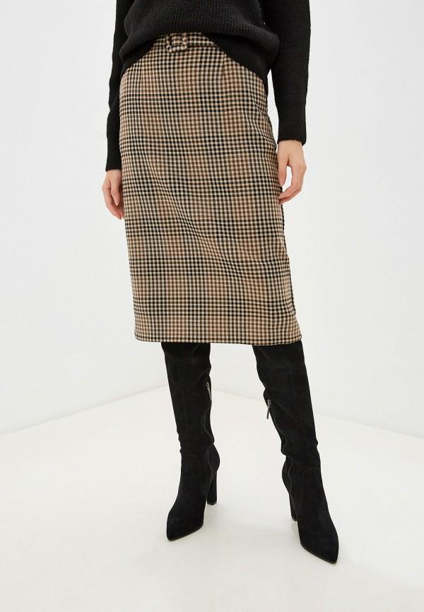 женская прямые юбка marks & spencer, коричневая