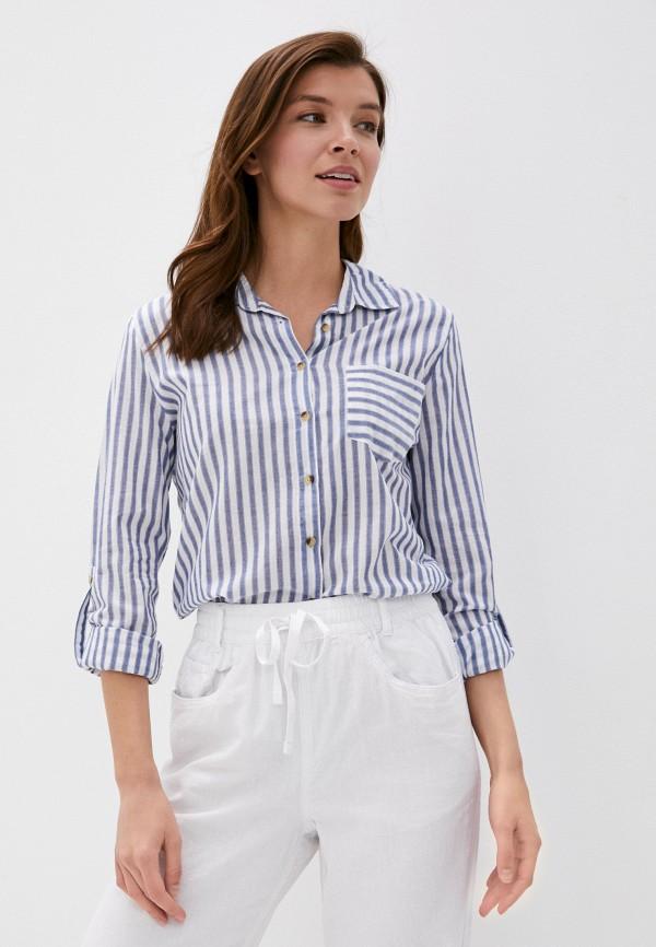 женская рубашка с длинным рукавом marks & spencer, голубая