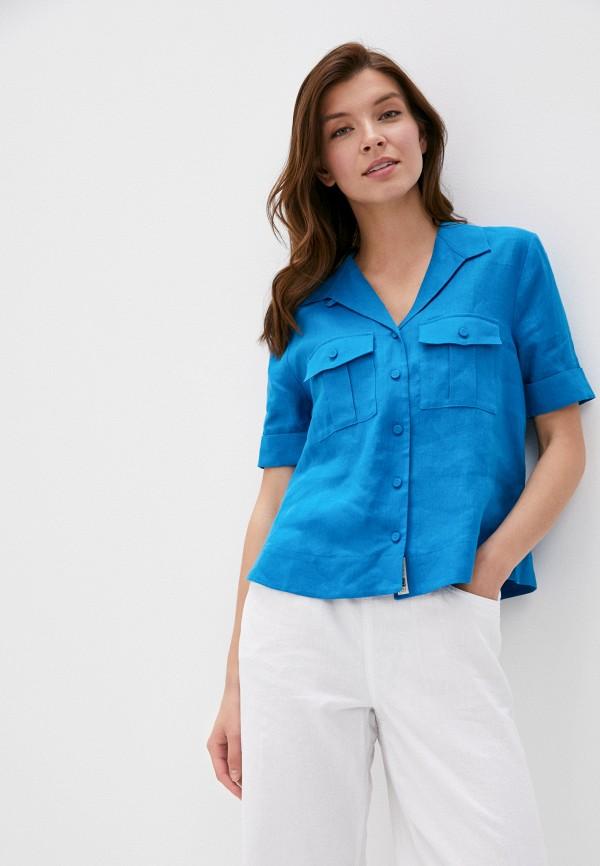 женская рубашка с коротким рукавом marks & spencer, голубая