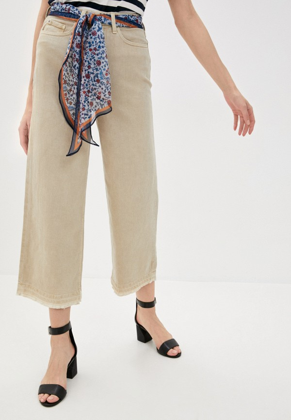 женские прямые брюки marks & spencer, бежевые
