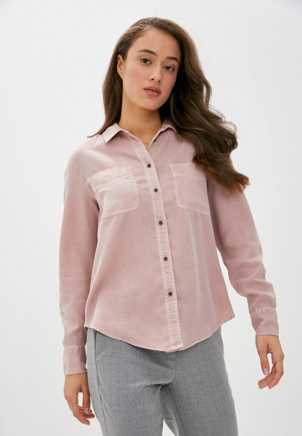 женская рубашка с длинным рукавом marks & spencer, розовая