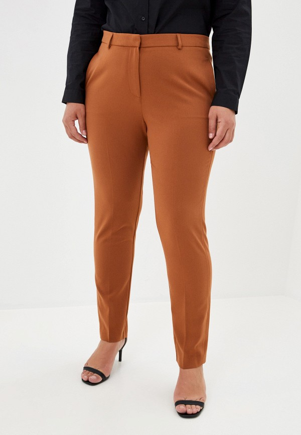 женские зауженные брюки marks & spencer, коричневые