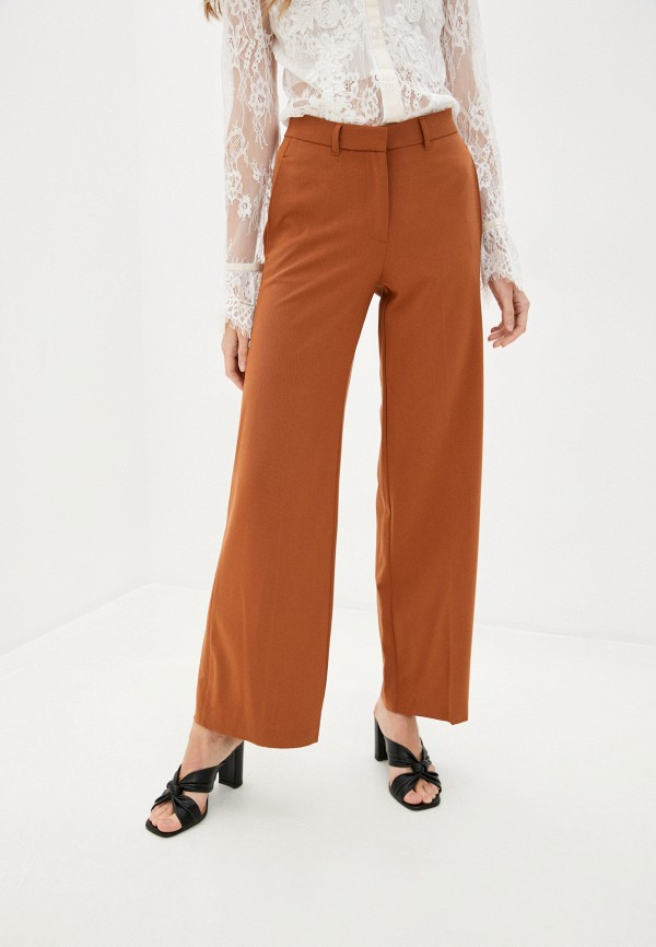 женские прямые брюки marks & spencer, коричневые