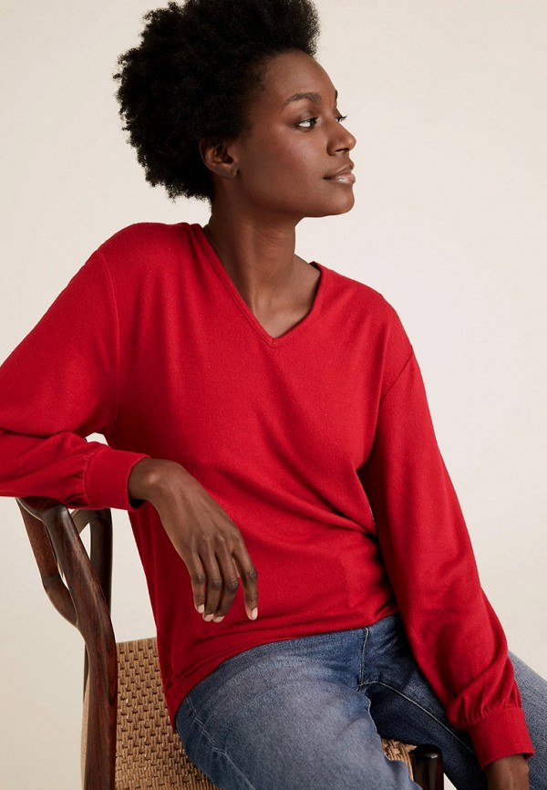 женский пуловер marks & spencer, красный