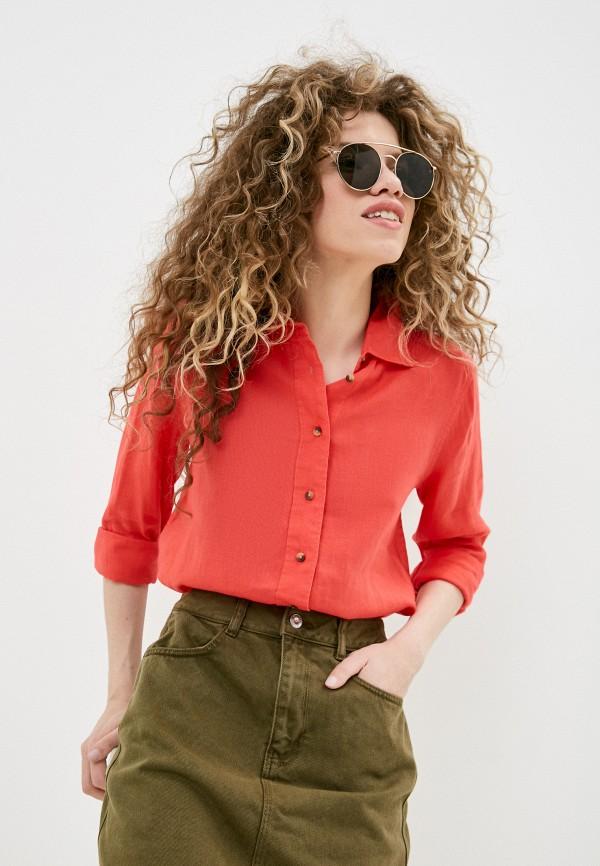женская рубашка с длинным рукавом marks & spencer, красная