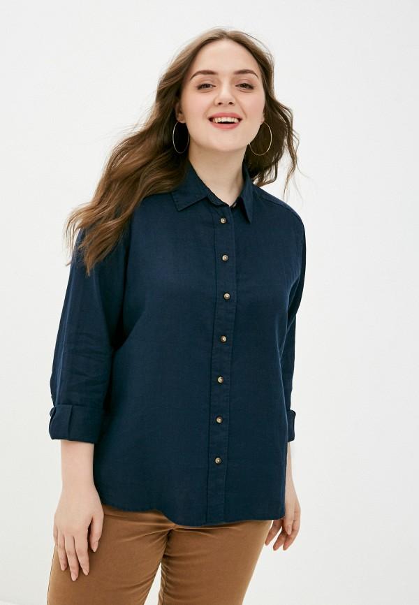 женская рубашка с длинным рукавом marks & spencer, синяя