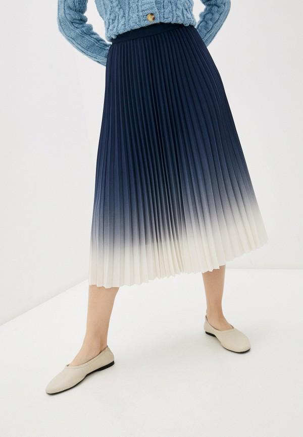 женская плиссированные юбка marks & spencer, синяя