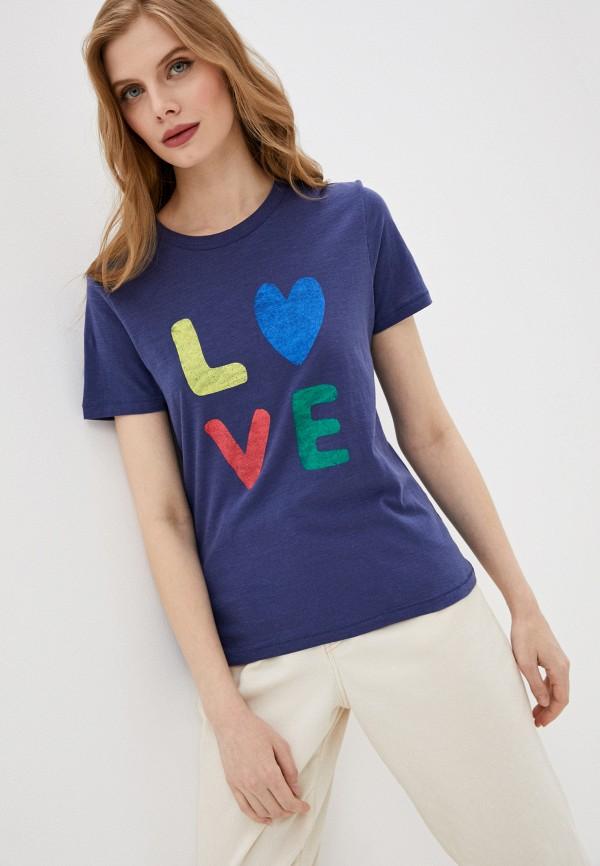 женская футболка marks & spencer, синяя