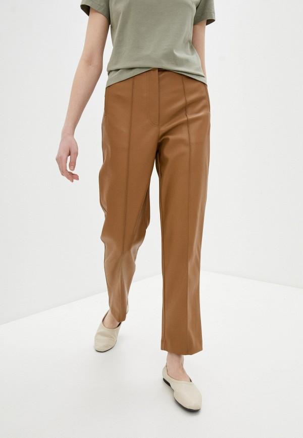 женские кожаные брюки marks & spencer, коричневые