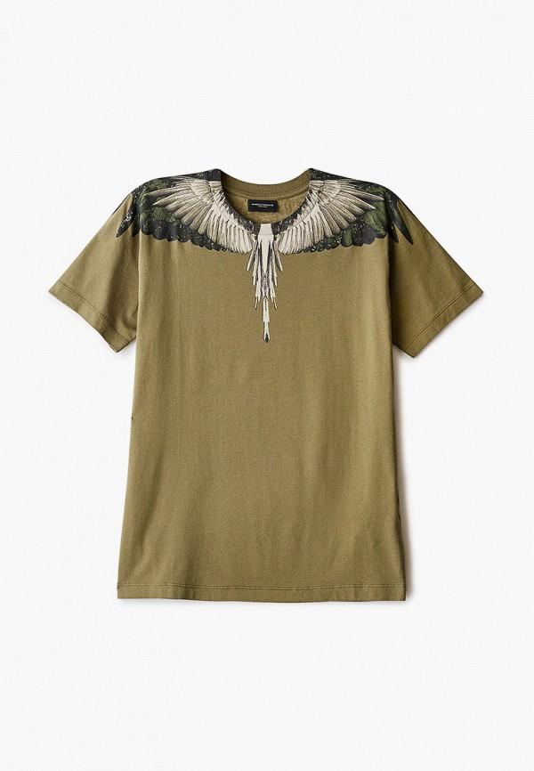 футболка с коротким рукавом marcelo burlon kids of milan для мальчика, хаки