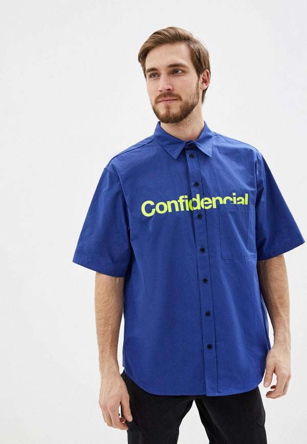мужская рубашка с коротким рукавом marcelo burlon county of milan, синяя