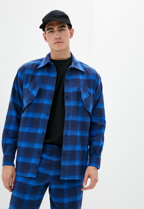 мужская рубашка с длинным рукавом marcelo burlon county of milan, синяя