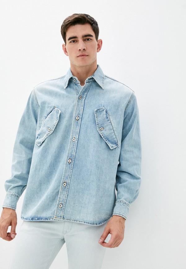 мужская джинсовые рубашка marcelo burlon county of milan, голубая